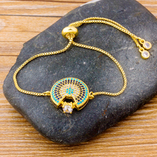 New Arrival Geometry Design Chain Copper Adjustable Bracelet Micro Pave Cubic Zirconia Rhinestone Jewelry For Girls Women Gifts