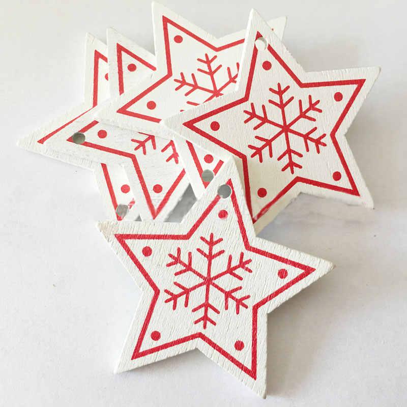 ใหม่ปี 2020 เกล็ดหิมะธรรมชาติไม้จี้ & Drop เครื่องประดับคริสต์มาสต้นไม้ไม้หัตถกรรม Xmas ต้นไม้ตกแต่งสำหรับ Home 2019 noel