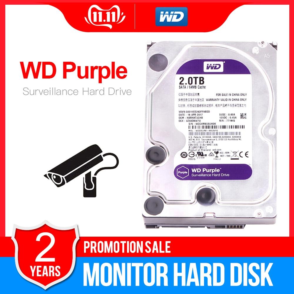 """Western Digital WD Purple 2TB 3.5"""" Surveillance HDD 64MB SATA 6 Gb/s Internal Hard Drive For Video Recorder NVR WD20EJRX"""