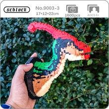 SC 9003-3 Dinosaur Parasaurolophus Animal Monster Head 3D Model DIY Mini Diamond Blocks Bricks Building Toy for Children no Box