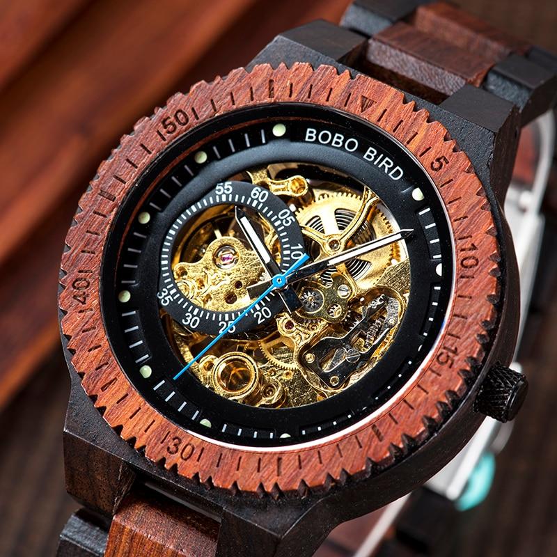 BOBOBIRD Retro Design Automatic Mechanical Watch Erkek Kol Saati With Side Label Luminous Hand L-R05