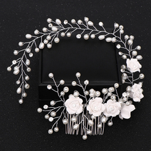 Trendy Flower Silver Color Pearl Wedding Hair Combs Hair Accessories Decorative Combs Women Hair Jewelry Wedding Hair Jewelry haimeikang women rose flower retro combs brides hair pins hair comb wedding jewelry accessories red rose hairpin hair jewelry
