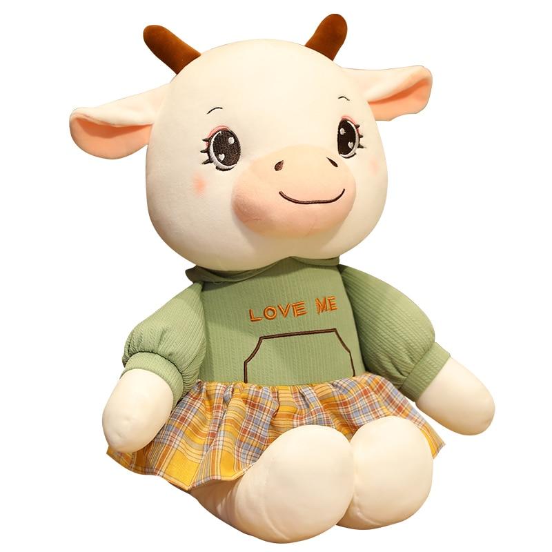 30/40/55cm Kawaii Cow Pet Doll Stuffed Lovely Animal Cattle Plush Toys For Children Girls Lover Birthday Christmas Gift Pillow