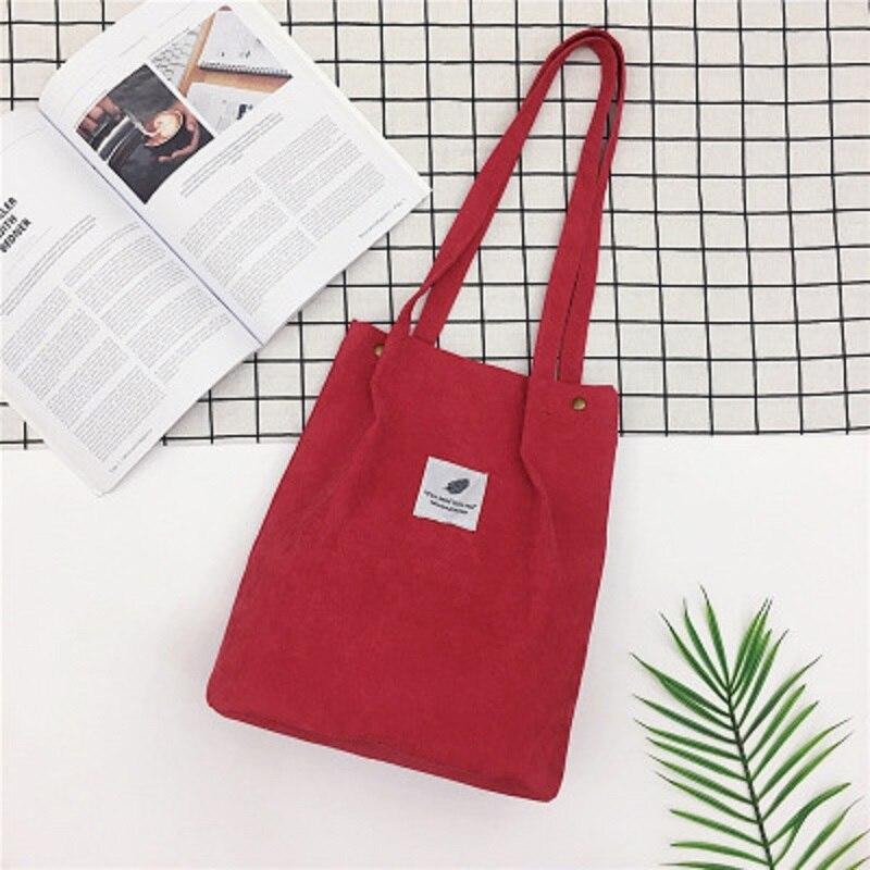 LOOZYKIT, Женские однотонные вельветовые сумки на плечо, сумка для покупок, большая посылка, сумки через плечо, кошельки, Повседневная сумка для женщин, сумка для книг - Цвет: red