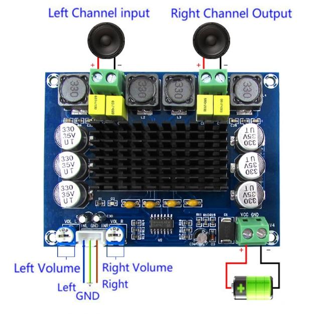 최신 최고 품질 tpa3116d2 d2 120 w + 120 w 디지털 전력 증폭기 보드 듀얼 채널 DC12 26V 오디오 증폭기 보드