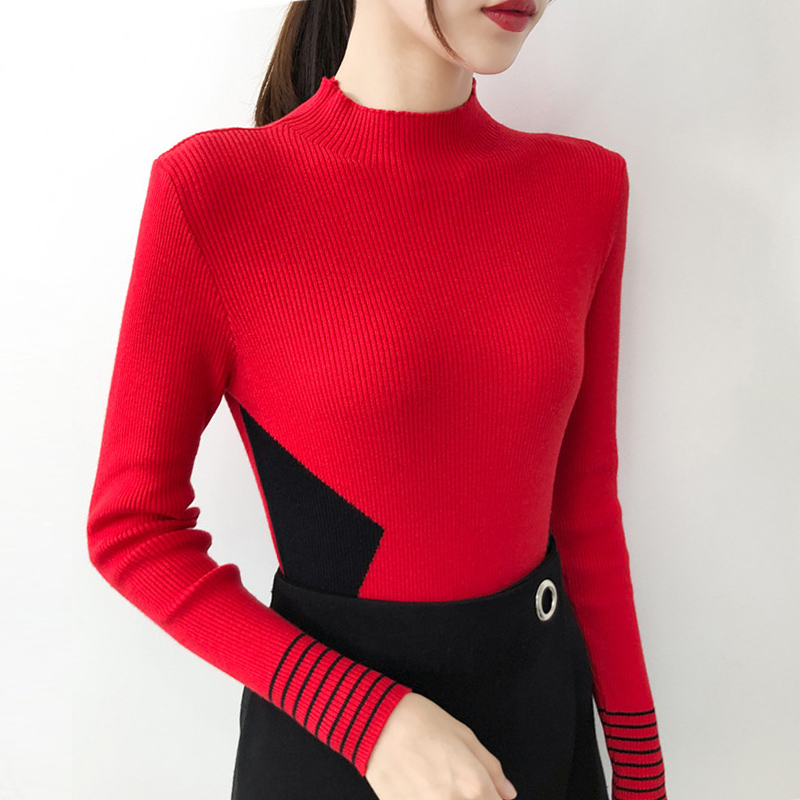 Stand Collar Women Sweaters Long Sleeve Color Block Knitted Pullover Women Tops Autumn Basic Sweater Casual Female Clothes