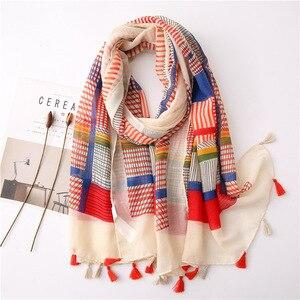 Роскошный фирменный хлопковый льняной шарф с принтом, женские солнцестойкие шелковые шарфы-шали, летний модный головной платок, зимнее пон...