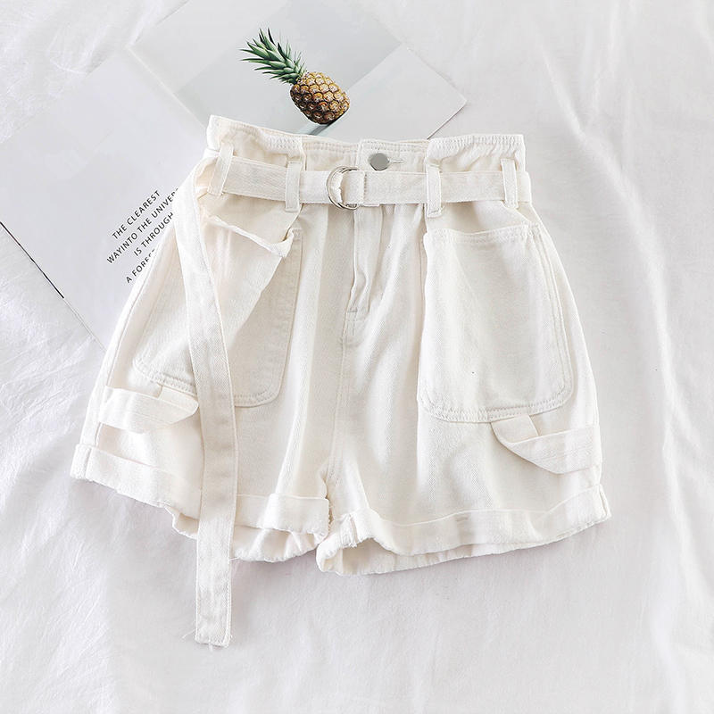 Hfcb99e1516074965be46fa8b07fd25f1a - Retro Denim Shorts Women Spring Summer Wide Leg Shorts With Belt Casual Hotpants Pink White Jeans High Waist Women Shorts C6129
