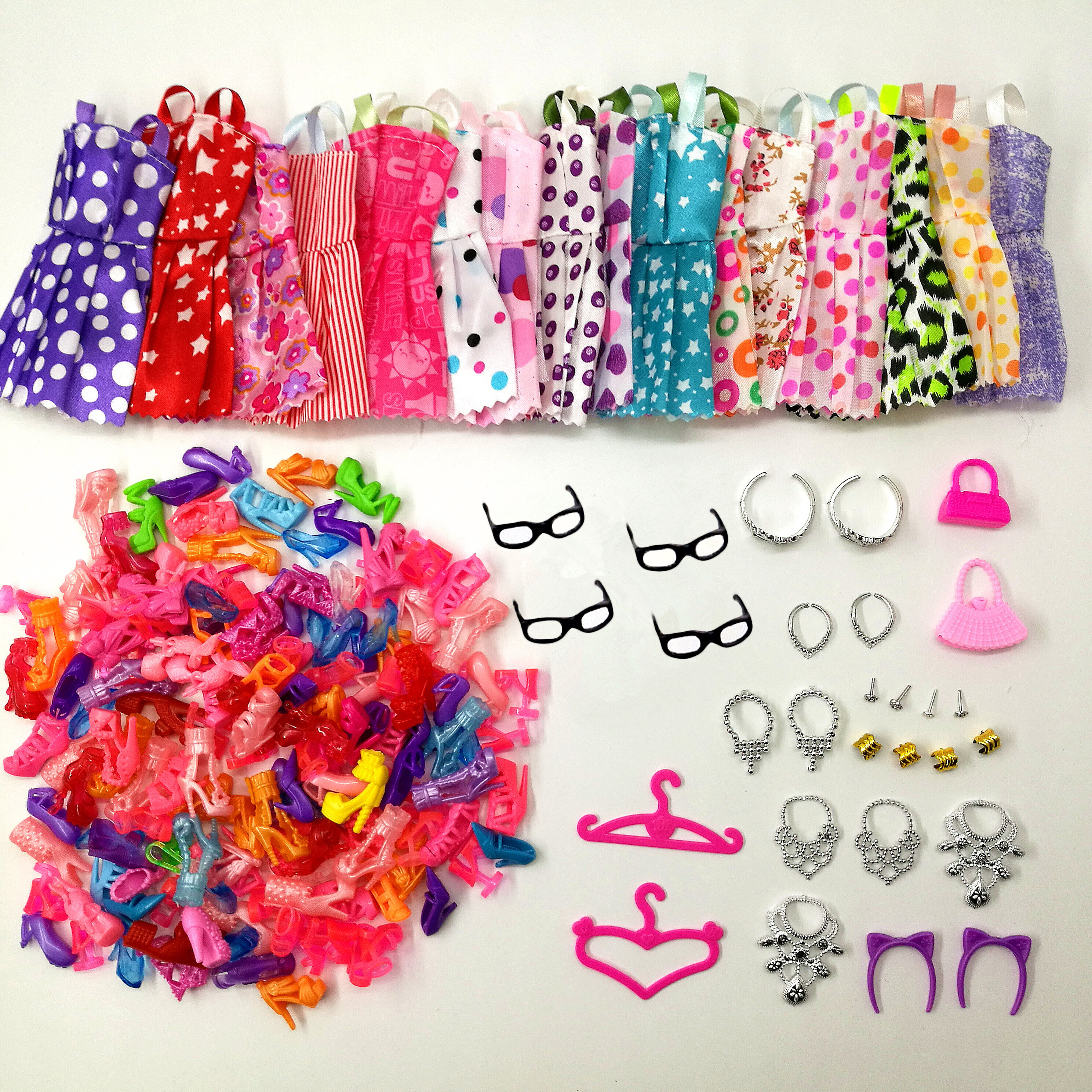 38 Item/Set Doll Accessories=10 Pcs Doll Clothes Dress+4 Glasses+5 Plastic Necklace +2 Hanger+10 Pairs Shoes For Barbie Doll