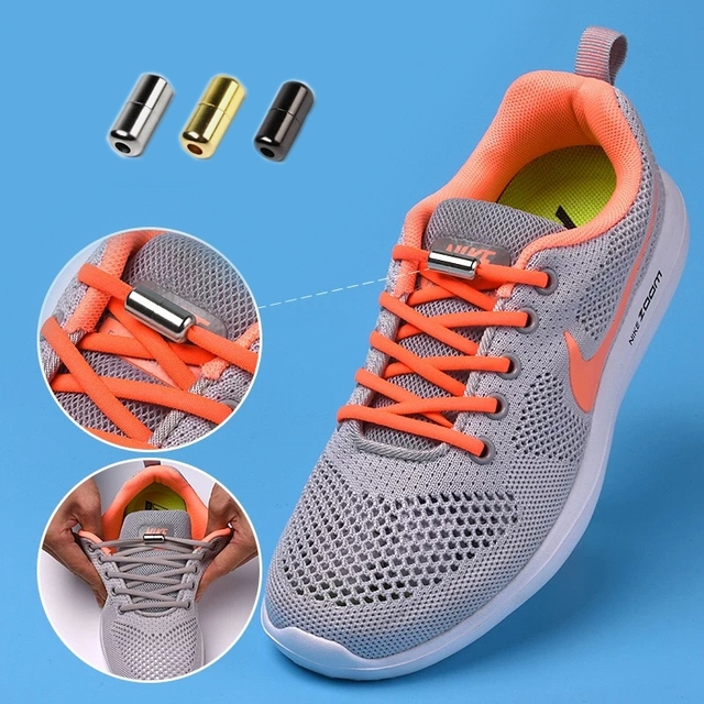 1Pair Elastic Locking Shoelaces Semicircle Shoelace Sneakers Shoe laces Quick No Tie Shoelace Kids Adult Shoes lace 21colors 2