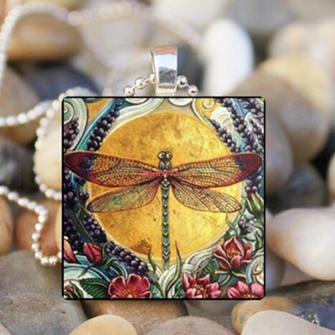 DRAGONFLY Glass Square Pendant Necklace Long Silver Chain Statement Necklace New