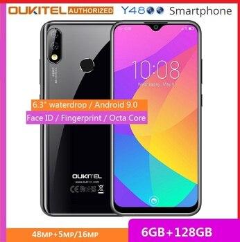 Перейти на Алиэкспресс и купить Мобильный телефон OUKITEL Y4800 6,3 дюймFHD + смартфон с большим экраном Android 9,0 Octa Core 6G 128G отпечаток пальца 4000mAh 9 V/2A Face ID
