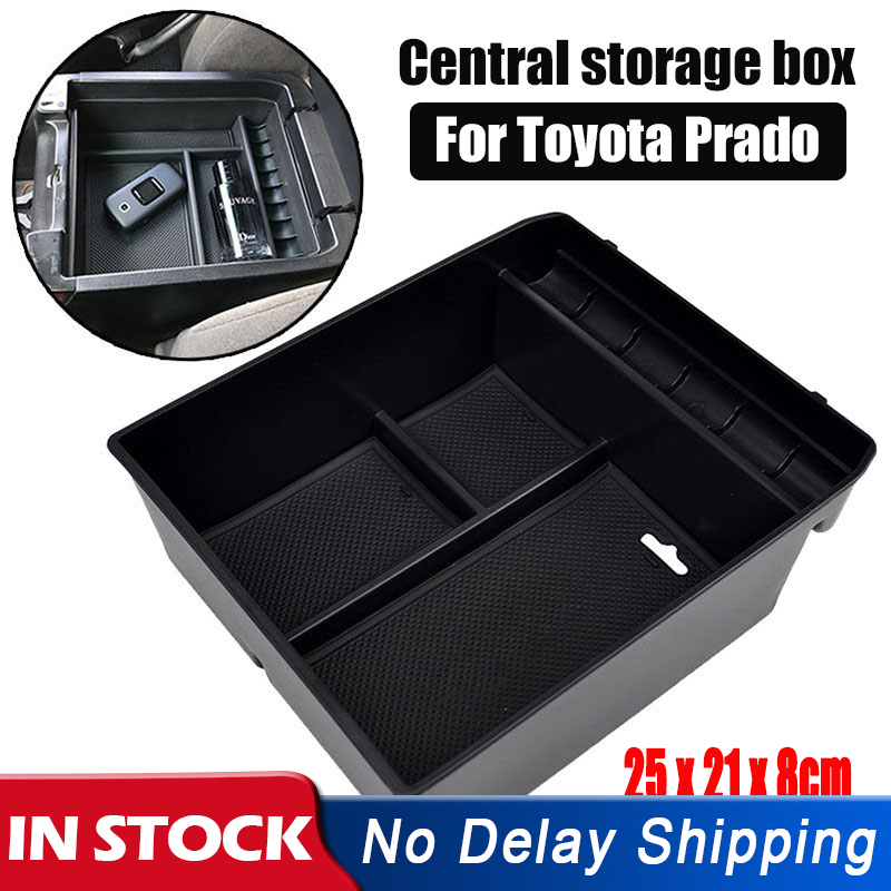 1Pcs ABS Central Armrest Container Stowing Box For <font><b>Toyota</b></font> Land Cruiser <font><b>Prado</b></font> (<font><b>FJ120</b></font>) 2004-2009 Black Car <font><b>Accessories</b></font> 25*21*8cm image