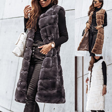 Vest Jacket Waistcoat Long Ladies Hooded Round-Neck Female Fashion Luxury Warm Furs Solid-Color