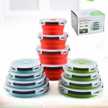 4 pçs tamanho dobrável silicone recipiente de alimentos portátil bento lancheira microondas casa cozinha ao ar livre recipiente de armazenamento de alimentos caixa