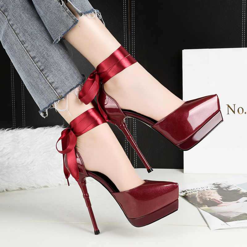 Luxury High <font><b>Heels</b></font> Sandals Patent Pointy-Toe Strappy <font><b>Women's</b></font> <font><b>Shoes</b></font> Ankle Strap 3Cm Platform Stiletto Burgundy Silve zapatos mujer image