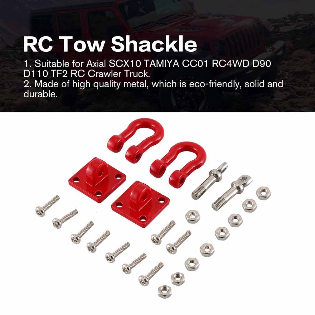 RC Car Metal Tow Shackle Trailer Hook Kit for 1:10 SCX10 TRX-4 D90 D110 Crawler