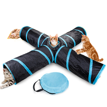 Foldable Pet Cat Tunnel 4/5 Holes 2 Colors Indoor Outdoor Training Toy For Rabbit Animal Play Tube T-joint