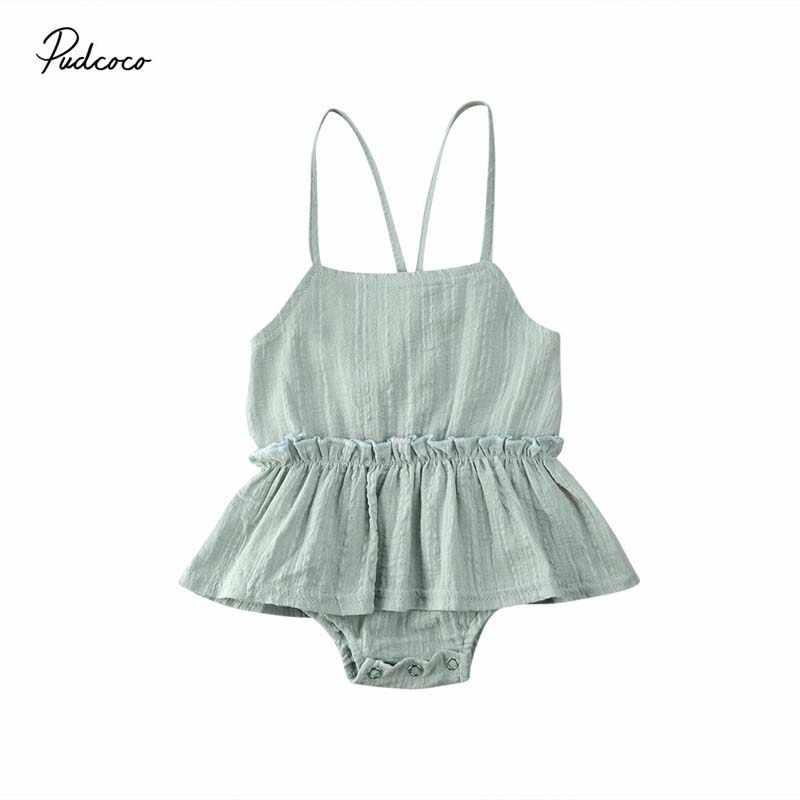 2020 Baby Summer Clothing Newborn Infant Baby Girl Clothes Jumpsuit Bodysuit Dress Strap Outfit Solid Playsuits Backless Sunsuit