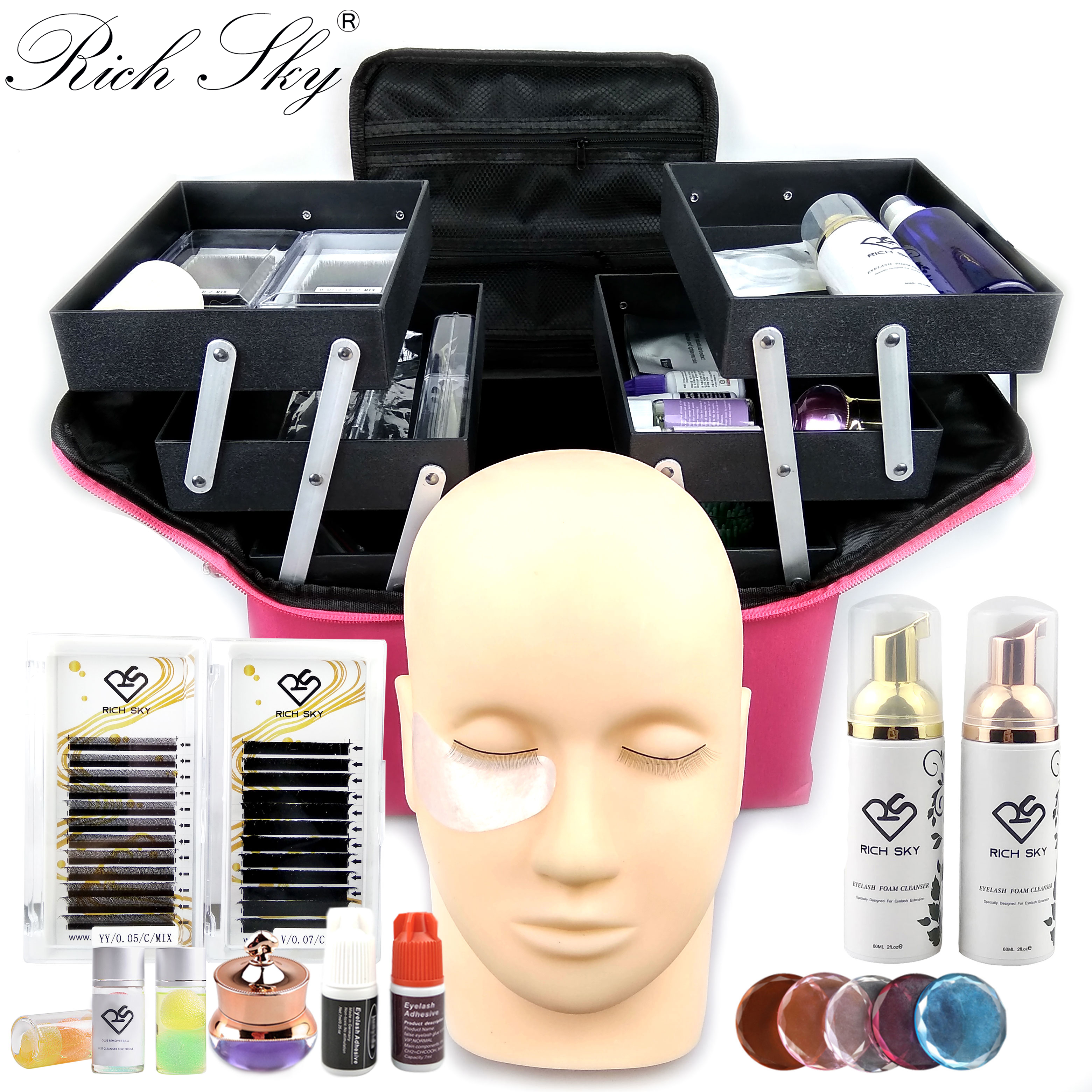 RIch Sky Private Label Lashes Box Individual  Extensions Tool Professional Eyelash Extension Kit
