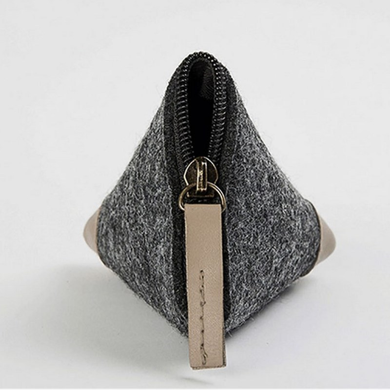 Fashion Creative Wallet Solid Color Zong Zi Bao Mini Triangular Bag Coin Change Felt Bag