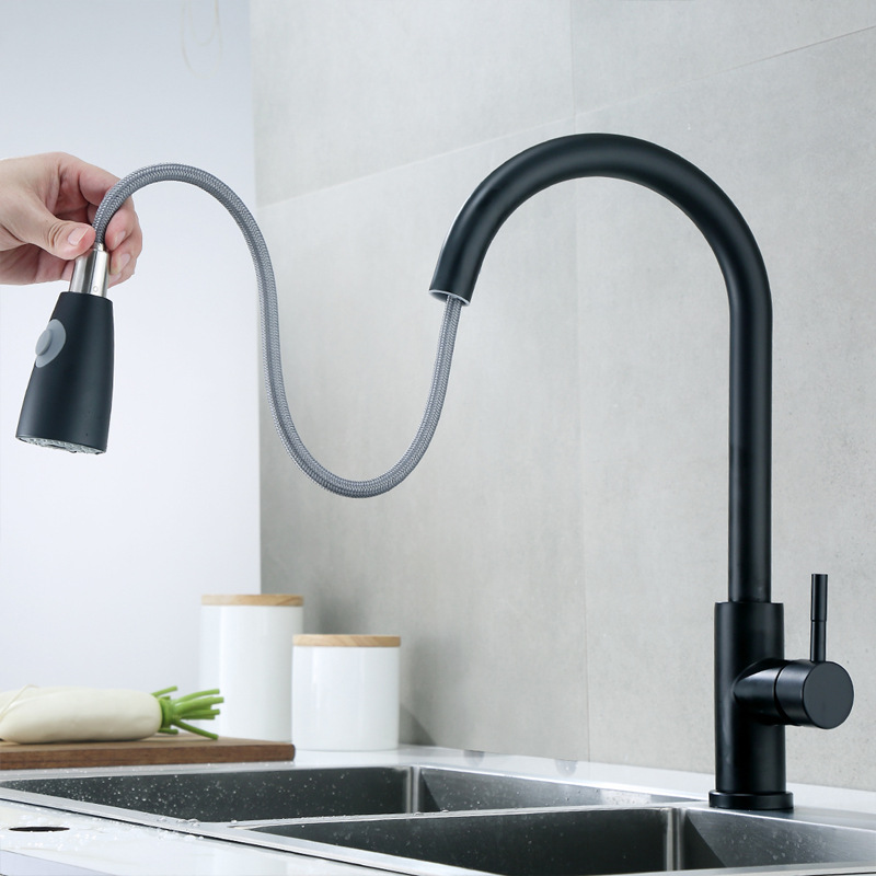 304 Stainless Steel Tap Black And White with Pattern Baking Varnish Pull-out Kitchen Faucet Hot And Cold Washing Basin Sink Warm