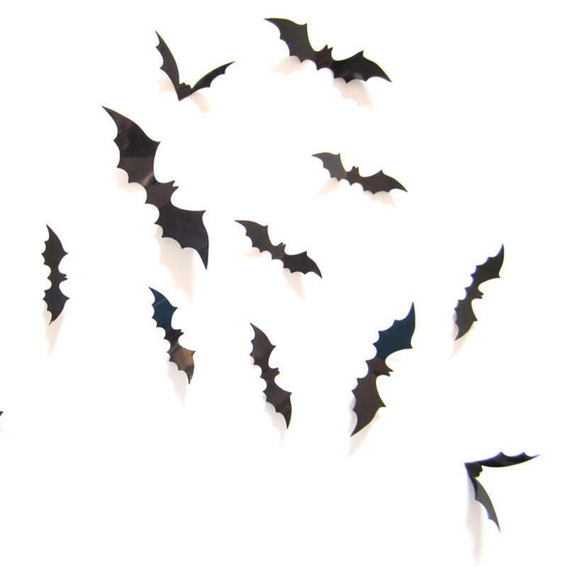 2019 Baru 12Pcs Halloween 3D Seram Kelelawar Dekorasi Dinding Stiker Kaca Pesta Halloween Bar Stiker Set Tahan Air Wear- tahan