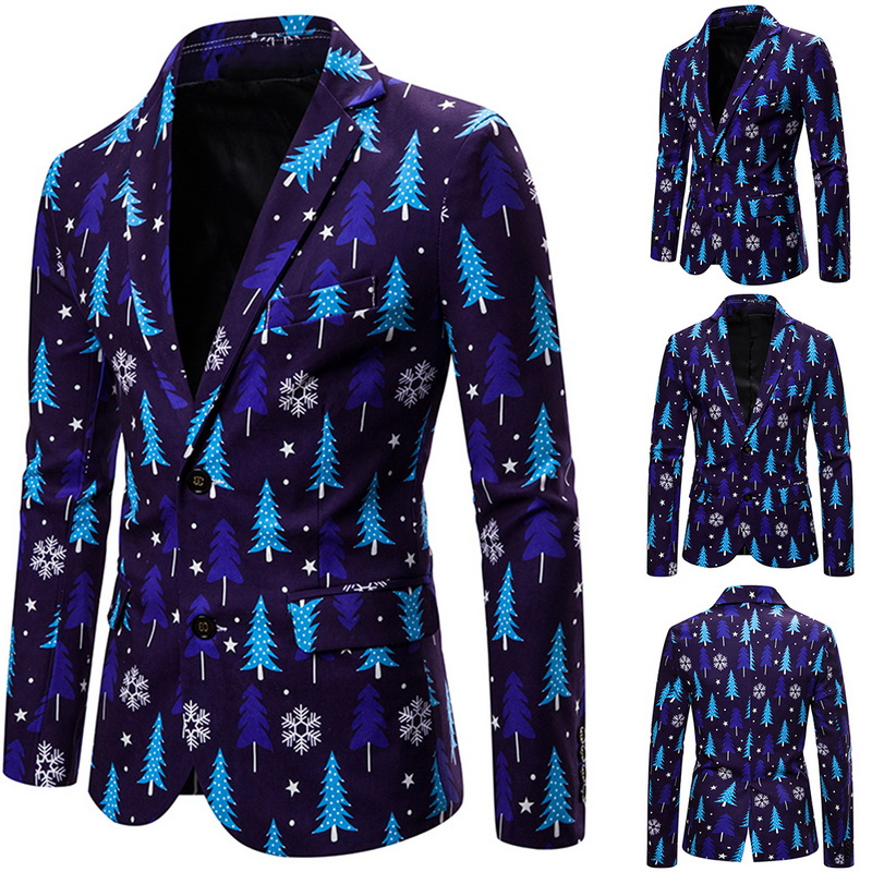 Brand Mens Christmas Print Suits Jacket Christmas Pattern Men Blazer Jacket 2019 Mens Fashio Suit Coat For Party High Quality