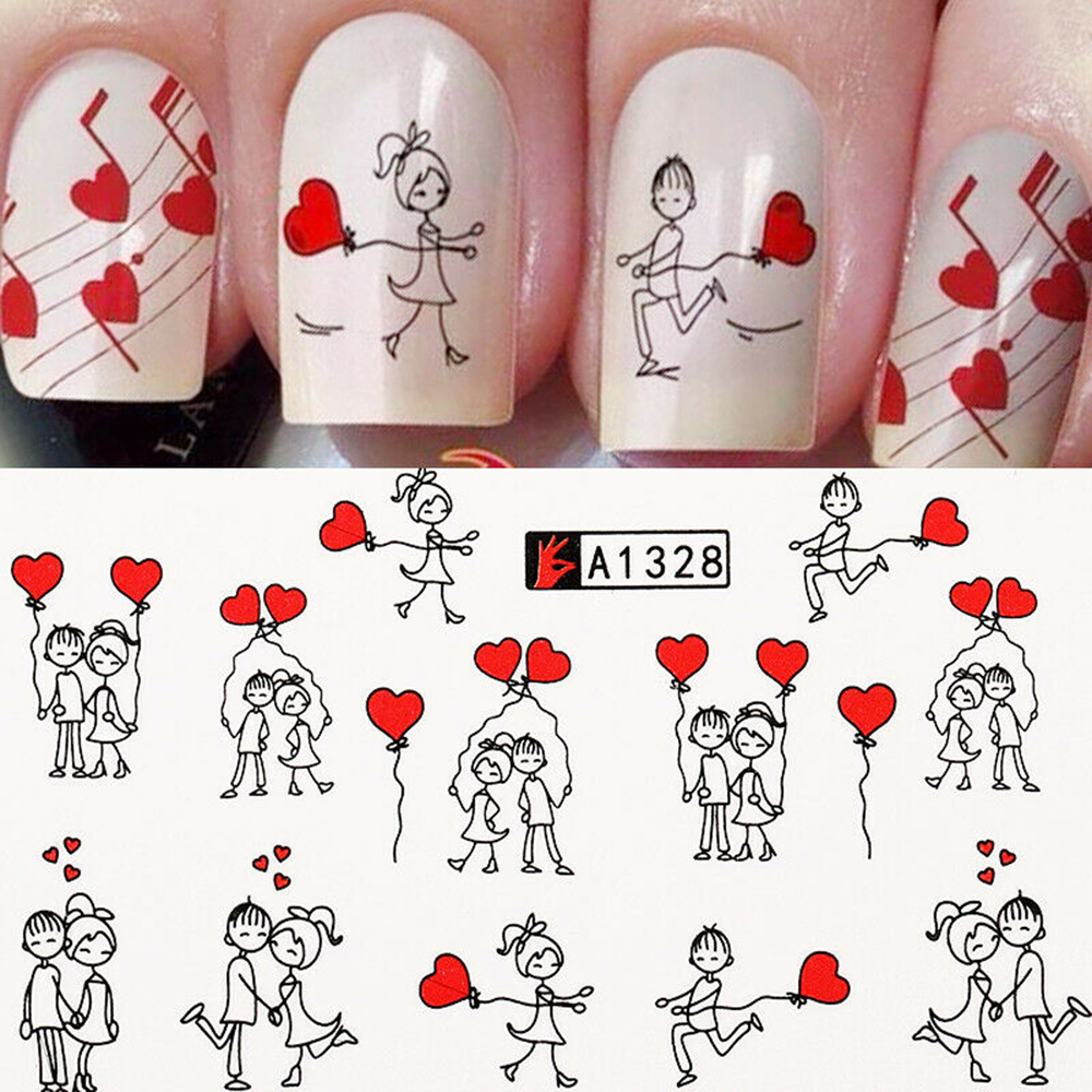 Случайный 24 листа Валентина ногтей искусство наклейки для украшения романтический поцелуй красные губки переводная бумага переводная Нак...