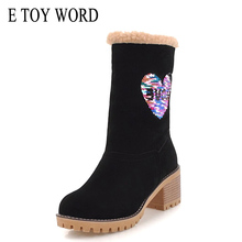 E TOY WORD women boots 2019 winter warm Thick Heel snow large size 42 43 womens ankle shoes
