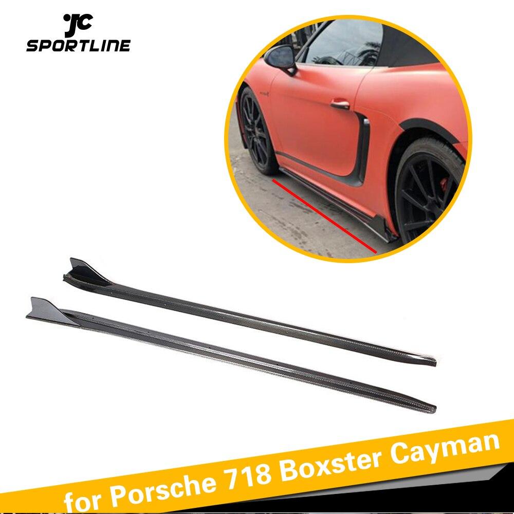 Per Porsche 718 Boxster Cayman In Fibra di Carbonio Lato Pannello Esterno di Estensione Lip 2016-2019 Passi Porta Pannelli