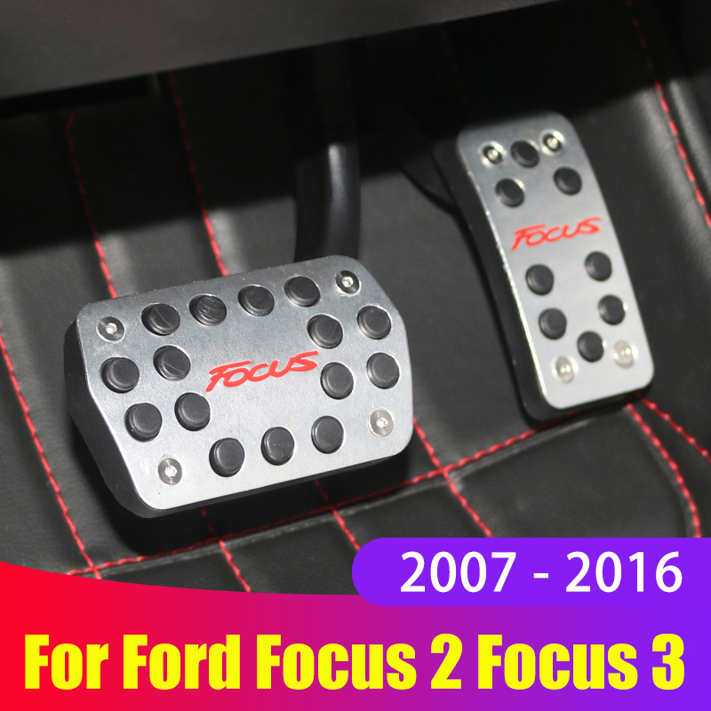 Aluminum alloy Car Styling Accelerator Gas Pedal Brake Pedal Cover For ford focus 2 3 2007-2012 2013 2014 2015 2016 Accessories