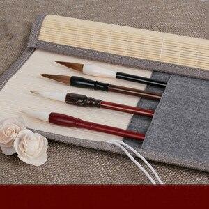 Сумка-карандаш для каллиграфии в китайском стиле, простая портативная ручка-кисть для письма чехол ручной работы