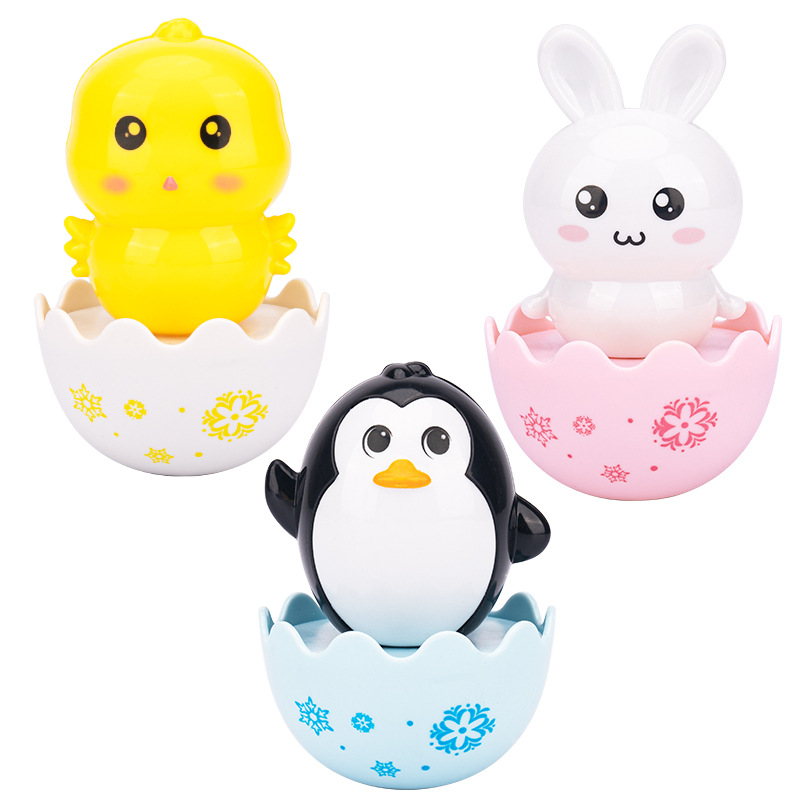 Baby Care Cute Yellow Chick Rabbit Penguin Tumbler Toys Roly-Poly Plastic ABS Rattles Grasping Training for Children Game Gift 3