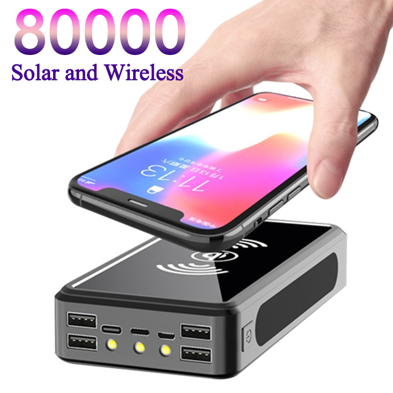 Solar Wireless Portable 80000mAh Power Bank Safe Fast Charging Powerbank 4 USB LED External Battery for Xiaomi Iphone Samsung
