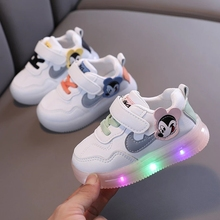 Micky Mouse Disney Cute First Walkers LED Lighted Baby Boys Girls Sneakers Infant Toddlers Sports Running Cool Baby Shoes