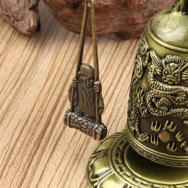 New Metal Bell Carved Dragon Buddhist Clock Good Luck Feng Shui Ornament Home Decoration Figurines 5
