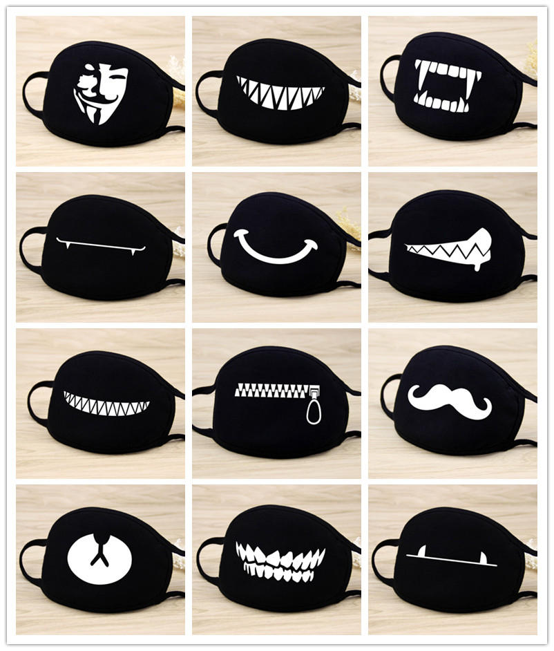 Quality 1PCS Cotton Unisex Cartoon Kpop Teeth Mask Mouth Black Bear Half Mouth Mask Anti-bacterial Dust Black Cute Masks