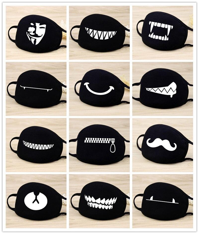 Quality 1PCS Cotton Unisex Cartoon Kpop Teeth Mask Mouth Black Bear Half Mouth Mask Anti-bacterial Dust Black Cute Masks