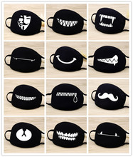 Quality 1PCS Cotton Unisex Cartoon Kpop Teeth Mask Mouth Black Bear Half Anti-bacterial Dust Cute Masks