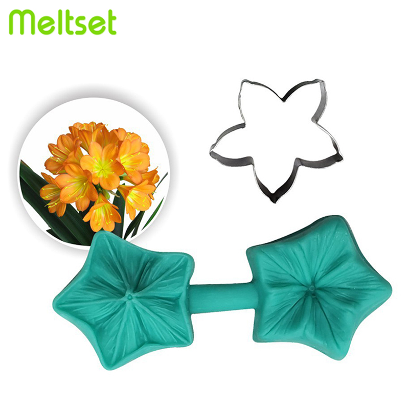 Flower Petal Silicone Mould With Stainless Steel Cookie Cutters Mold Set Stamp Mold Biscuit Fondant Cake Decoration Supplies