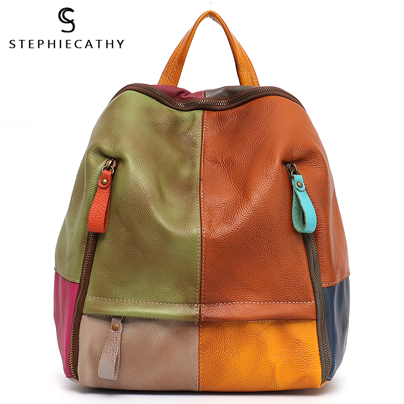 SC Vintage Patchwork Real Leather Women Backpacks Travel Shoulder Bags School Pack Retro Color Plaid Functional Pockets Knapsack