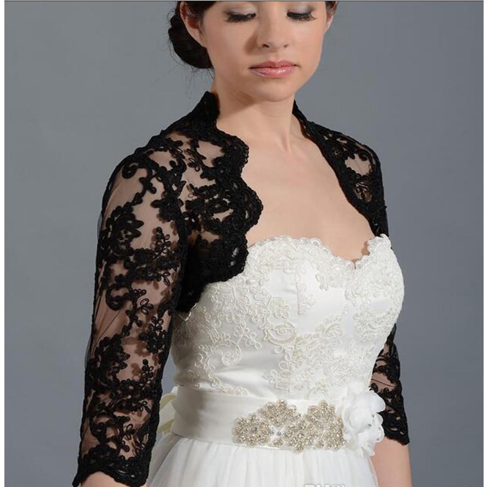 New Black 3/4 Long Sleeve Wedding Bolero Jackets Bridal Wrap Shrug Front Open Lace Applique Sheer Bride Custom Size Jacket