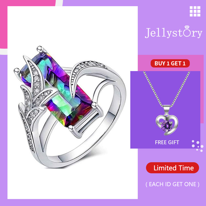 Jellystory Trendy Silver 925 Jewelry Rings with Rectangle Shape Green Topaz Gemstone Ring for Women Wedding Party Gift size 6-10(China)