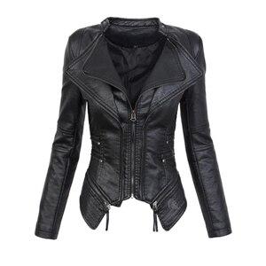 Faux Leather PU Jacket Women Winter Autumn Fashion Motorcycle Jacket Black Faux Leather Coats Outerwear Female Slim Coat