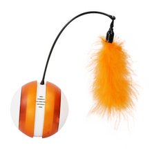 1 Pcs Explosion Led Light Funny Cat Ball ABS PP Turkey Feathers Smart Power Off Touch Steering Feather Electric Cat Toy smart trike safari touch steering 2014