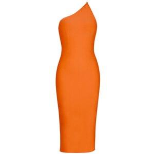 Image 2 - Ocstrade High Fashion Vrouwen 2019 Nieuwe Zomer Een Schouder Bandage Jurk Oranje Sexy Midi Bandage Jurk Bodycon Party Club Jurk
