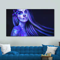 Colorful Girl Canvas Art Painting Day of the Dead Face Wall Art Picture Movie Poster Artwork for Living Room Modern Decoration