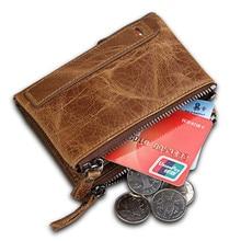 купить Brand RFID Protection Card Holder Genuine Leather Men Wallet Small Zipper Pocket Men Wallets Folding Male Short Coin Purse дешево