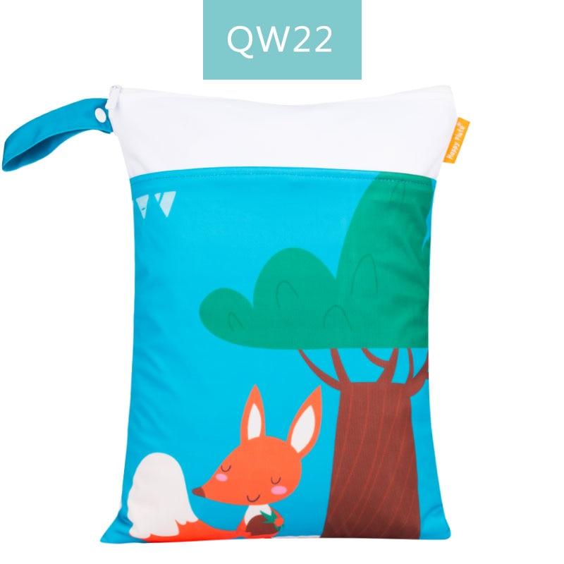 Happy Flute 1 шт. Многоразовые водонепроницаемые модные принты влажная сухая сумка для подгузников двойной карман тканевая Ручка сумки для мокрого плавания 30*40 см - Цвет: ES001QW22